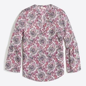 J Crew Factory Paisley Top With Bell Sleeves Sz XS